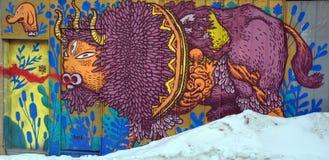 Uliczny sztuki Montreal żubr Obraz Stock