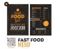 Uliczny szybkie żarcie festiwalu menu pokrywy projekt Festiwalu projekta szablon z pociągany ręcznie graficznymi elementami i lit Zdjęcia Royalty Free