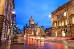 Uliczny widok historyczna Królewska mila, Edynburg Zdjęcie Royalty Free
