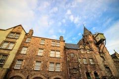 Uliczny widok historyczna Królewska mila, Edynburg Obrazy Stock
