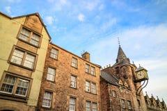 Uliczny widok historyczna Królewska mila, Edynburg Fotografia Royalty Free