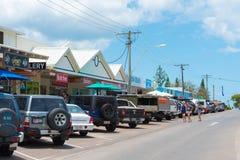 Uliczny widok przy tęczy plażą, QLD, Australia obrazy stock