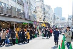 Uliczny widok przy Tsukiji rynkiem Obrazy Royalty Free