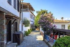 Uliczny widok Sirince wioska w Izmir skrzętności, Turcja fotografia royalty free