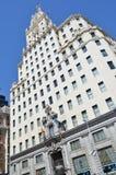Uliczny widok Telefonica budynek biurowy w Madryt, Hiszpania fotografia royalty free