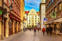 Uliczny widok w Monachium, Niemcy Obraz Stock