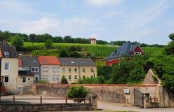 Uliczny widok w Schengen, Luksemburg Obraz Stock