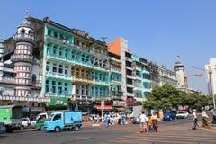 Uliczny widok w Yangon Obraz Stock