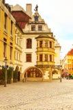 Uliczny widok z kawiarnią, restauracja w Monachium, Niemcy Obraz Royalty Free
