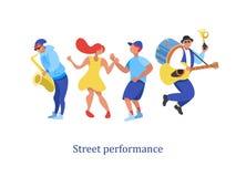 Uliczny występ Uliczny muzyk również zwrócić corel ilustracji wektora ilustracji