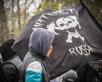 ULIYANOVSK RYSSLAND 10 10 2015 Bokslut av seasonen-2015, Ulyanovsk, i fyrkanten framme av Akvamoll Zasviyazhie Arkivbilder