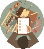 Ulizuje projekta biznesmena przy round stołem Zdjęcie Stock
