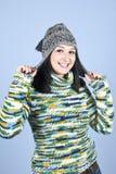 ull för pullover för lockflicka lycklig Arkivbilder
