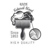 Ull på vapen med garnbollen Logo för släkt plats för hantverk royaltyfri illustrationer