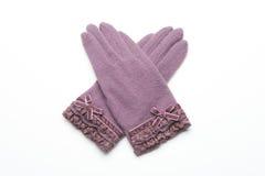 Ull stack handskar på vit bakgrund Arkivbilder