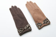 Ull stack handskar på vit bakgrund Arkivbild