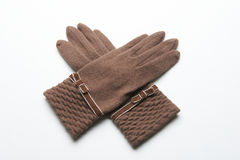 Ull stack handskar på vit bakgrund Royaltyfria Foton