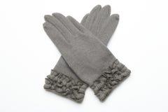 Ull stack handskar på vit bakgrund Royaltyfri Bild