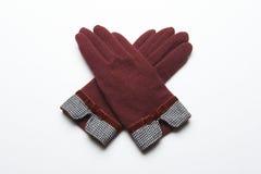 Ull stack handskar på vit bakgrund Royaltyfri Foto
