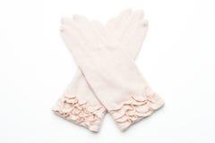 Ull stack handskar på vit bakgrund Arkivfoto