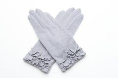 Ull stack handskar på vit bakgrund Arkivfoton
