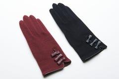 Ull stack handskar på vit bakgrund Royaltyfria Bilder