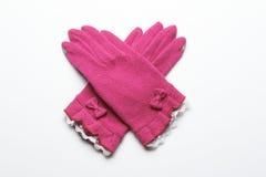 Ull stack handskar på vit bakgrund Fotografering för Bildbyråer