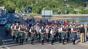 ULLAPOOL, SCOTLAND - JULY 17: Bagpipes' parade at local Highland Stock Images