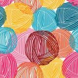 Ullbollar, garnskeins seamless modell färgrik bakgrund royaltyfri illustrationer