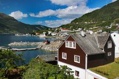 View of Ullensvang village, Norway stock photography