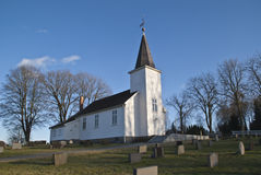 (Uller Island Church) east facing. Ullerøy Church is a long church located in Sarpsborg, Østfold county, Norway. The church is built of wood and has 160 seats Royalty Free Stock Image