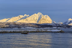 Ullsfjord in front of the Lyngen alps Stock Photo