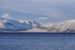 Ullsfjord with snow-covered mountains Stock Photography