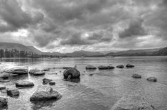 Ullswater at dusk. In greyscale HDR Stock Image