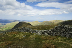 The Ullswater Fells. Dry stone wall down to Hartsop Royalty Free Stock Images