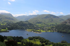 Ullswater and Glenridding with mountains behind Royalty Free Stock Photography
