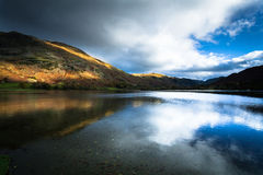 Ullswater, lake district, Cumbria, North of England. Ullswater lake in lake district with reflection of the sky Royalty Free Stock Photo