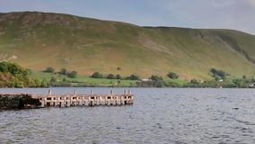 Ullswater Pier. The pier is a landing stage on the banks of Ullswater, Cumbria in the English Lake District national park stock video footage
