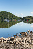 Ullswater by Pooley Bridge Lake District Cumbria boats blue sky and sunshine Stock Images