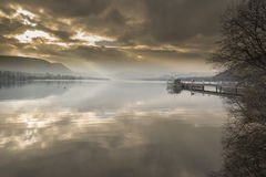 Ullswater from Pooley Bridge. Lake district National park Cumbria. Pleasure boat jetty with lake steamer Stock Photo