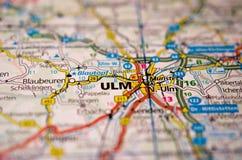 Ulm на карте Стоковые Изображения RF