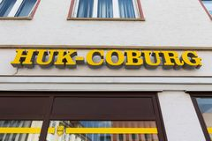 Ulm, Baden-Wurttemberg/germany - 19 08 18: huk coburg sign on an building in ulm germany stock photo