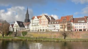 Ulm and Danube river. Germany cityscape stock video