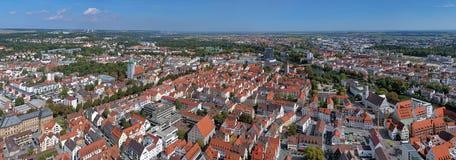 Panorama de Ulm e de Neu-Ulm da igreja de Ulm, Alemanha fotos de stock royalty free
