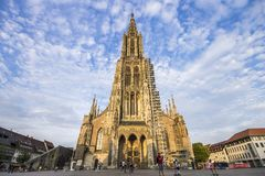 Ulm, Germany. The Ulm Minster Ulmer Munster, a Lutheran temple and tallest church in the world royalty free stock image