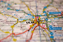 Ulm on map. Close up shot of Ulm Germany on a map Royalty Free Stock Images