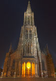 Ulm Minster (Ulmer Muenster), Germany, at Night Stock Photo