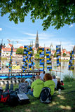 Ulm Munster durante o festival internacional de Danúbio Foto de Stock