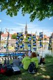 Ulm Munster under internationell Donaufestival Arkivfoto