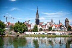 Ulm Munster während internationalen Donau-Festivals Lizenzfreies Stockfoto